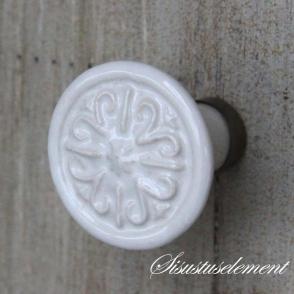 Kapinupp valge ornament, D3,3cm