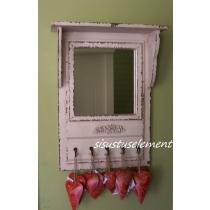 Antiikvalge peegel riiuli ja nagidega